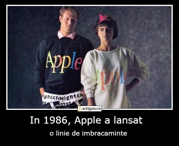 In 1986, Apple a lansat  o linie de imbracaminte