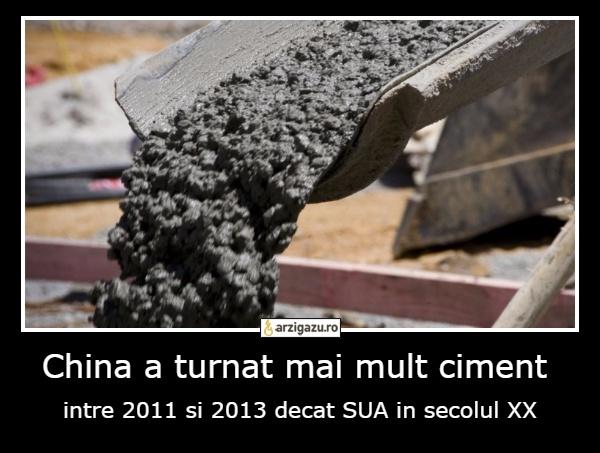China a turnat mai mult ciment  intre 2011 si 2013 decat SUA in secolul XX