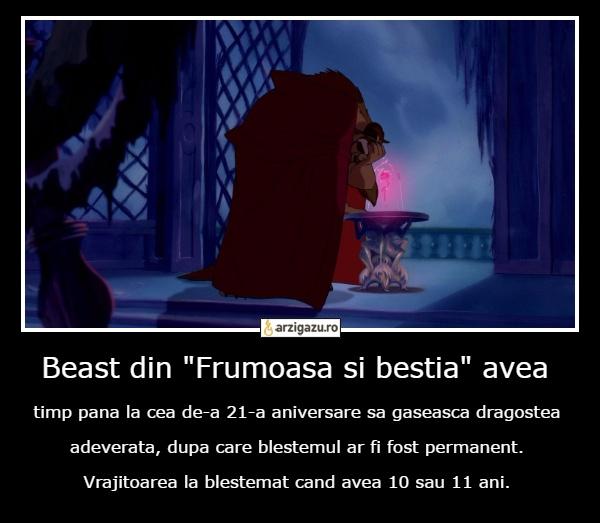 """Beast din """"Frumoasa si bestia"""" avea timp pana la cea de-a 21-a aniversare sa gaseasca dragostea adeverata, dupa care blestemul ar fi fost permanent. Vrajitoarea la blestemat cand avea 10 sau 11 ani."""