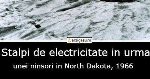 Stalpi de electricitate in urma  unei ninsori in North Dakota, 1966